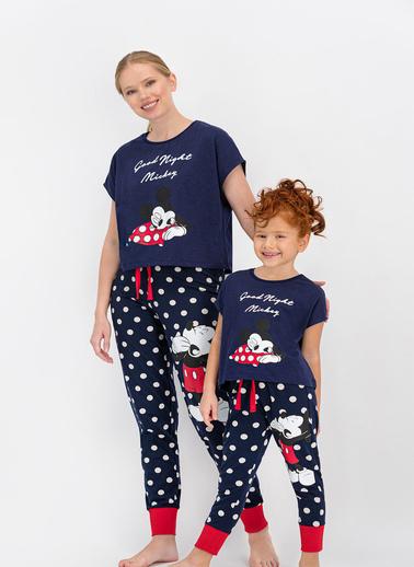 Mickey Mouse  Lisanslı Lacivert Kız Çocuk Pijama Takımı Lacivert